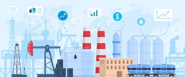 Нефтегазовая промышленность векторная иллюстрация, мультяшный плоский промышленный пейзаж с химической переработкой нефтеперерабатывающего завода или завода Premium векторы