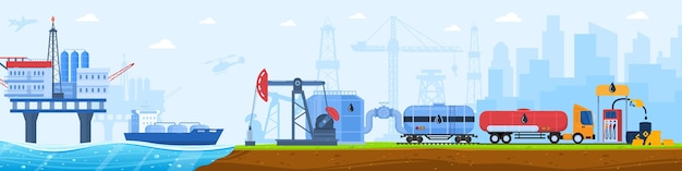 Oil gas industry vector illustration, cartoon flat industrial urban landscape with plant silhouettes, cargo truck transportation Premium Vector