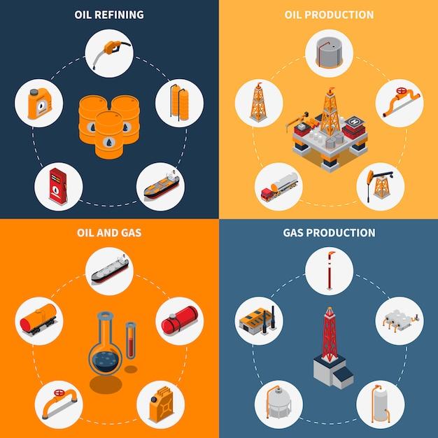 Concetto isometrico del petrolio e del gas Vettore gratuito
