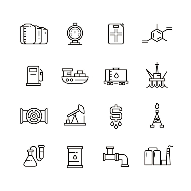Oil and gas manufacturing and industrial equipment line icons Premium Vector