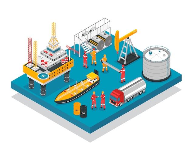 Oil gas platform isometric Free Vector