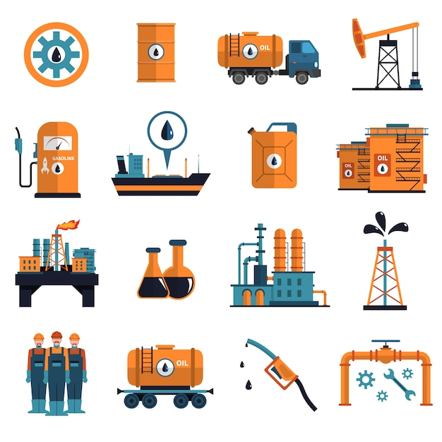 Oil icons set Free Vector