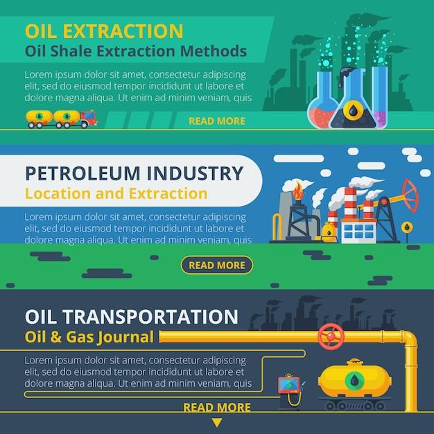 Oil industry banner set