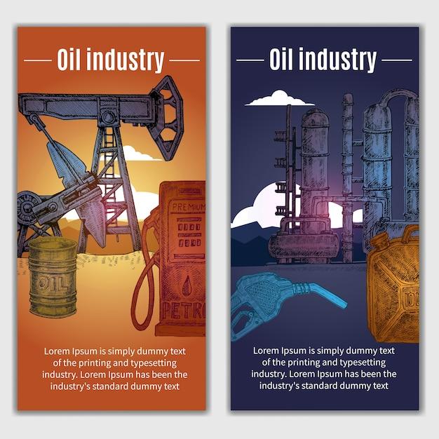 Illustrazione di banner industria petrolifera Vettore gratuito