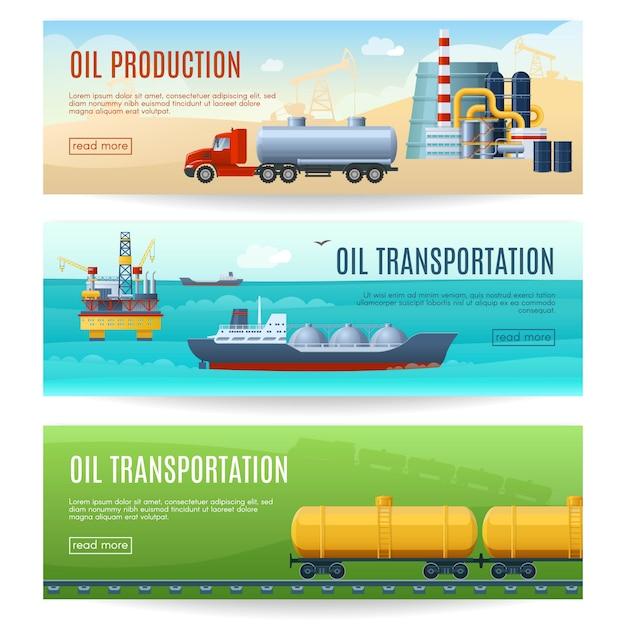 石油業界バナーセット 無料ベクター