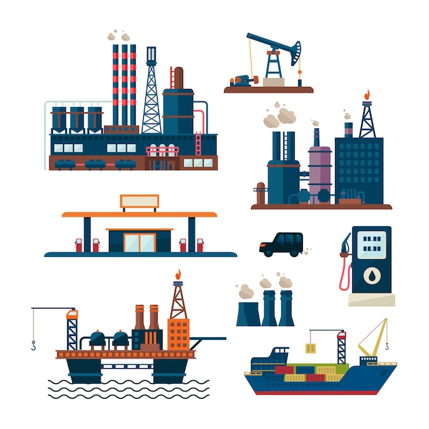 Oil industry business concept of gasoline diesel production fuel distribution and transportation four icons composition Premium Vector