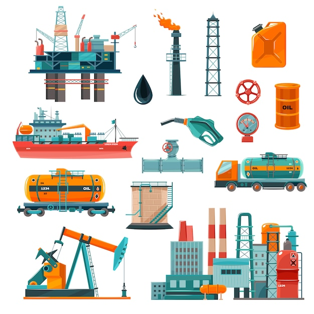 Oil industry cartoon icons set Free Vector