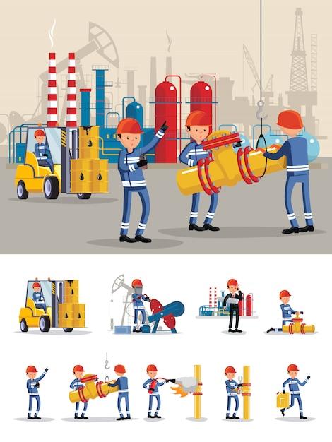 石油産業のキャラクターのコンセプト 無料ベクター