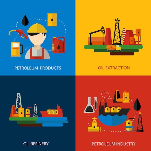 Нефтяной промышленности цветной плоский набор Бесплатные векторы