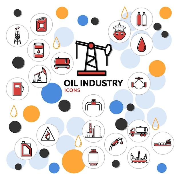Concetto di industria petrolifera con derrick can barile camion distributore di carburante pompa cisterna valvola fabbrica petrolchimica Vettore gratuito