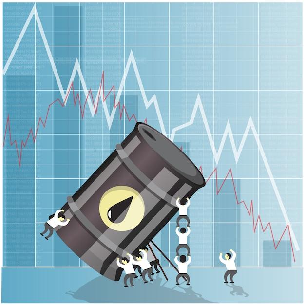 Oil industry crisis concept. drop in crude oil prices. financial markets vector illustration. Premium Vector