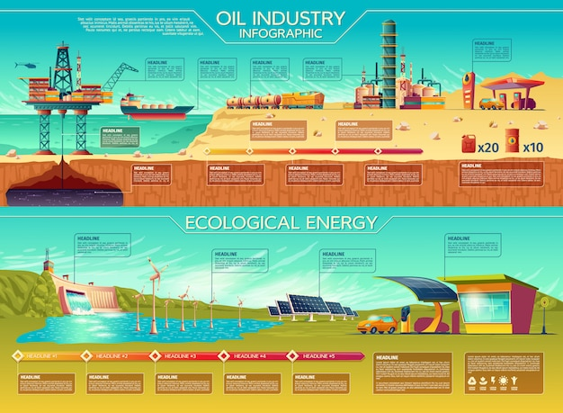 Oil industry ecological energy infographics presentation template set. Free Vector