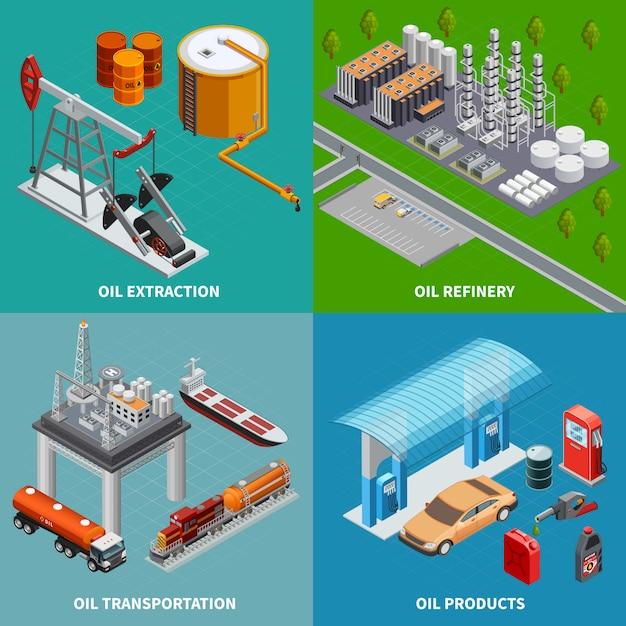 Raffineria dell'attrezzatura di estrazione di industria petrolifera e illustrazione isometrica variopinta di vettore isolata concetto 3d del trasporto 2x2 Vettore gratuito