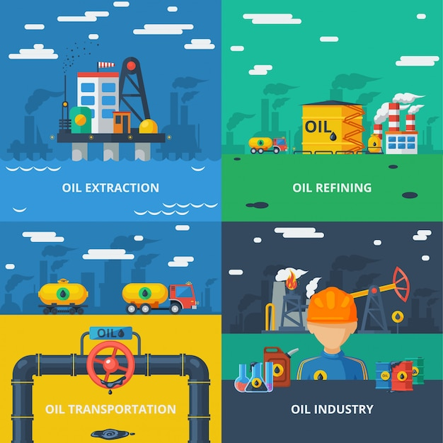 Oil industry flat set
