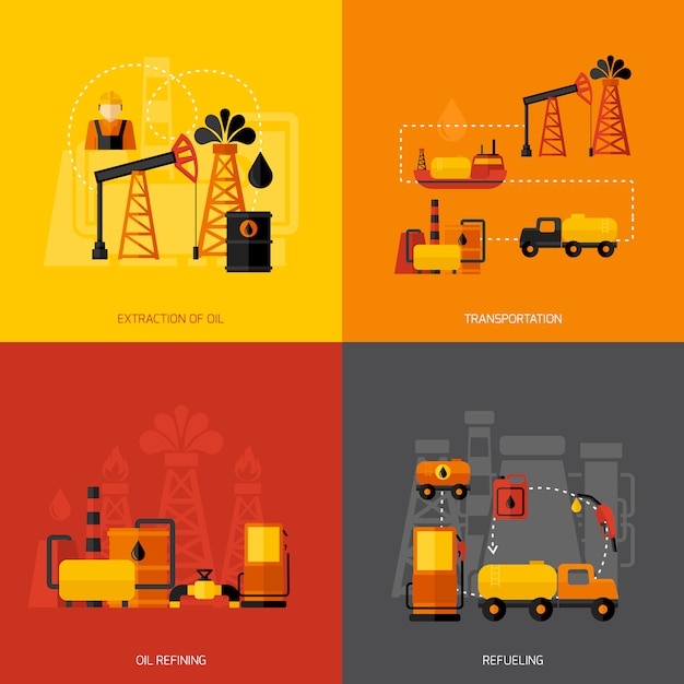 Oil industry flat Free Vector