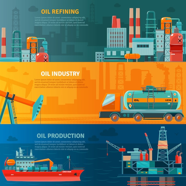 Oil industry horizontal banners set Free Vector