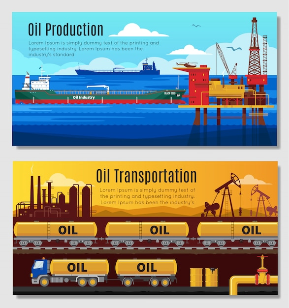 Oil industry horizontal banners Free Vector