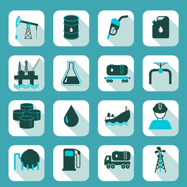 Oil industry icons set with pump tanker barrel isolated vector illustration. Free Vector