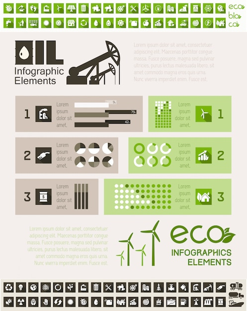 Oil industry infographic template Premium Vector