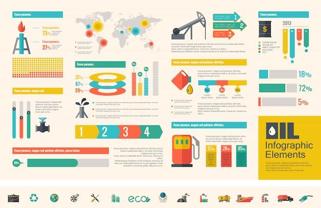 Oil industry infographic template Premium Vector
