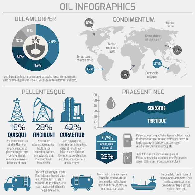 Oil industry infographic Free Vector