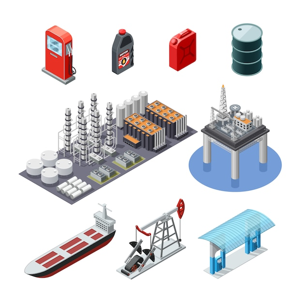 Oil industry isometric icons set Free Vector