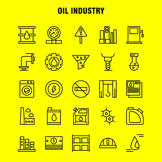 Oil industry line icon pack for designers Free Vector