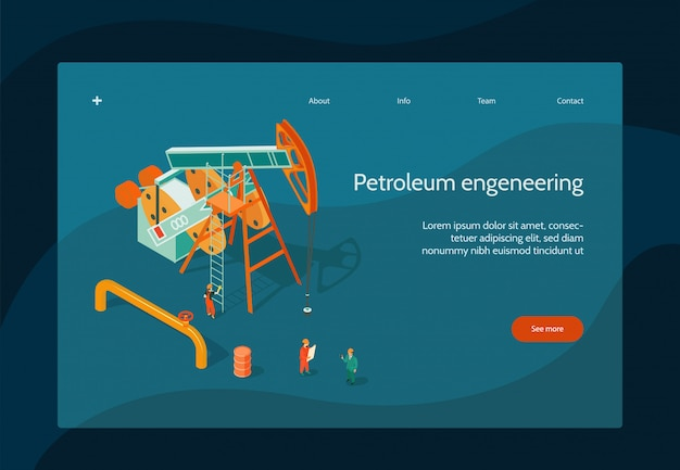 Oil industry page design with petroleum engineering symbols isometric Free Vector