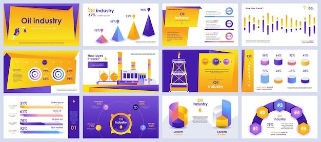 インフォグラフィック要素からの石油業界のプレゼンテーションスライドテンプレート Premiumベクター