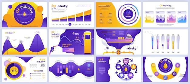 석유 산업 프레젠테이션은 인포 그래픽 요소의 템플릿을 슬라이드합니다. 프리미엄 벡터