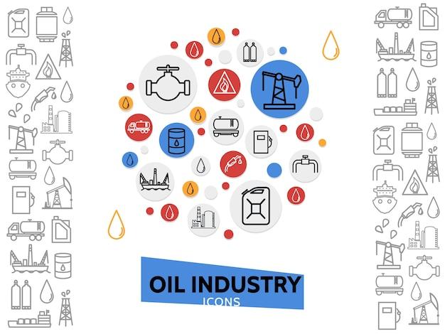 Modello di industria petrolifera con icone di linea petrolchimica e gas combustibile in cerchi colorati illustrazione isolato Vettore gratuito