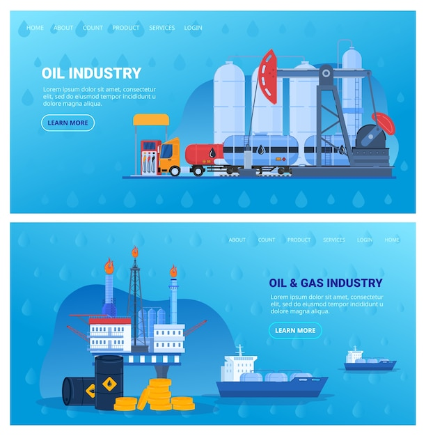Oil industry vector illustration set, cartoon flat industrial flat banner collection with drilling offshore platform, storage tank Premium Vector