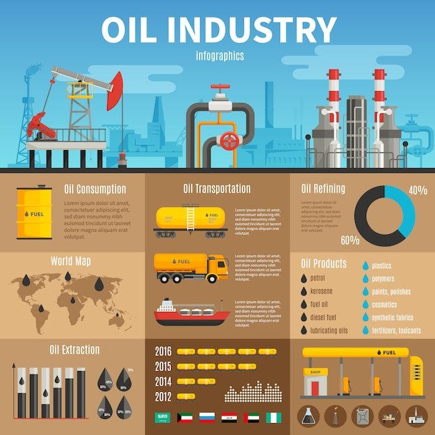 Oil industry vector infographics with extraction transportation Free Vector
