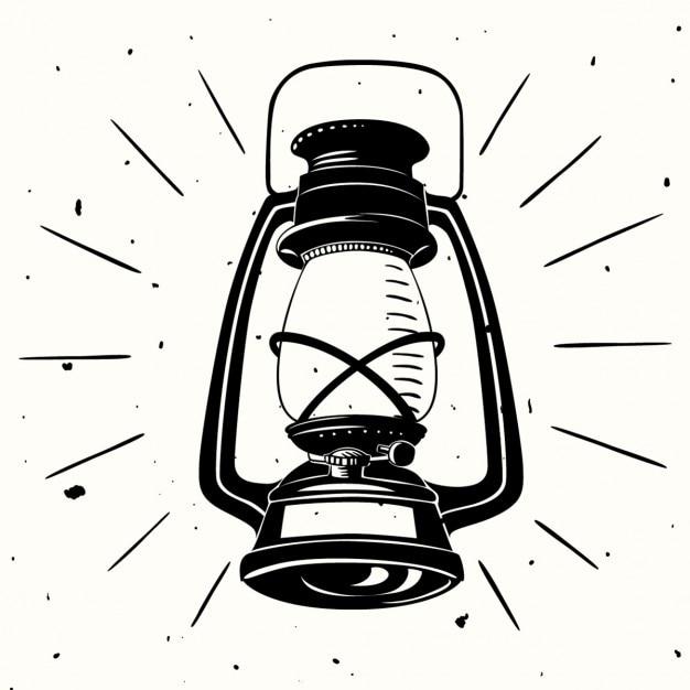 An oil lamp hand drawn Free Vector