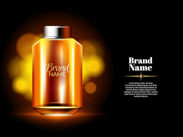 Oil perfume bottle with gold background and lights Free Vector