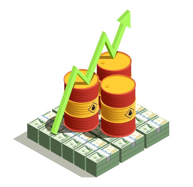 Нефтяная промышленность получает выгоду изометрической композиции с долларовыми банкнотами и ростом стоимости барреля стрелка Бесплатные векторы