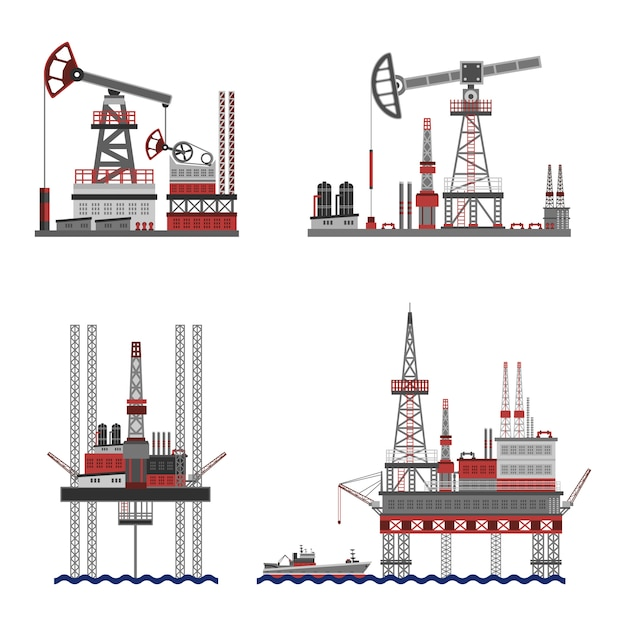 Oil petroleum platform set Free Vector
