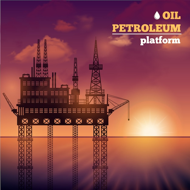 Oil petroleum platform Free Vector