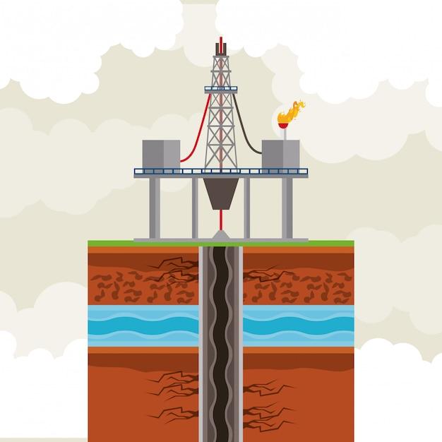 Oil and petroleum pump round icon Premium Vector