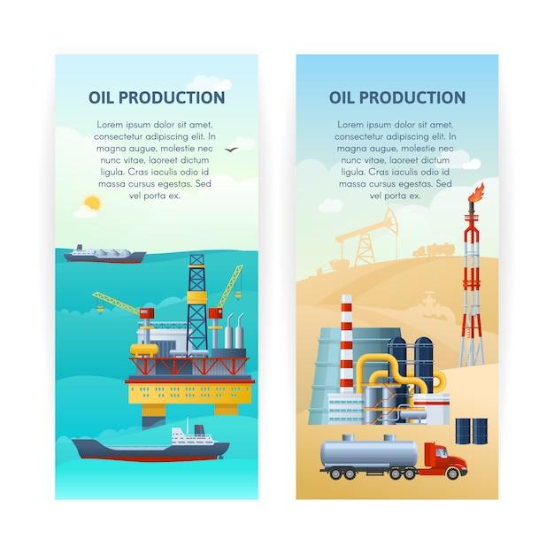 石油生産バナーセット 無料ベクター