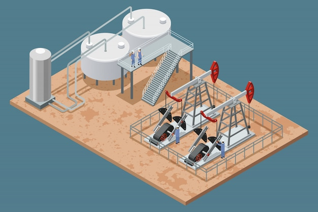 Oil production facilities and equipment isometric poster Free Vector