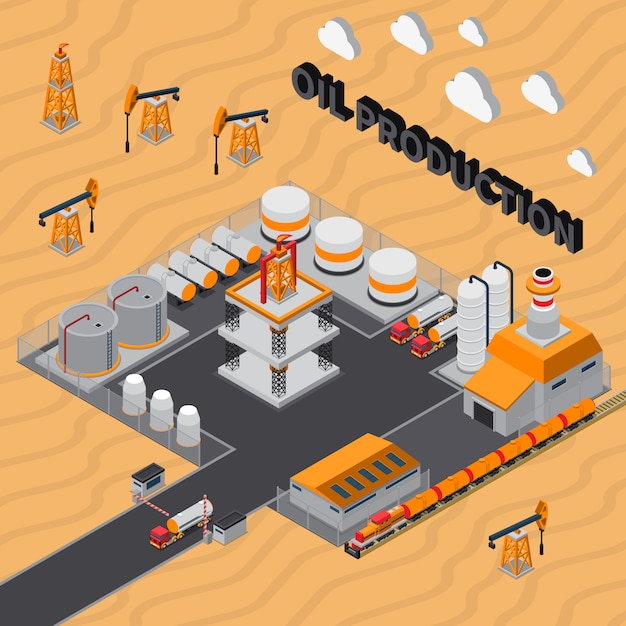 Oil production isometric illustration Free Vector