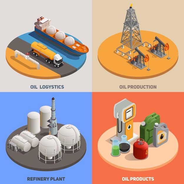 Логистика нефтеперерабатывающего завода нпз 4 изометрических красочный фон иконы квадратная концепция нефтяной промышленности Бесплатные векторы