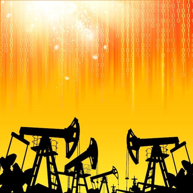 Illustrazione della macchina industriale della pompa dell'olio per lo sfondo Vettore gratuito