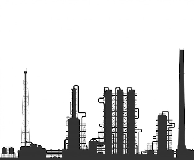 Oil refinery or chemical plant silhouette. Premium Vector