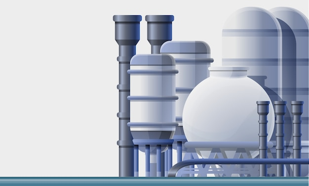 Oil refinery factory illustration cartoon style Premium Vector