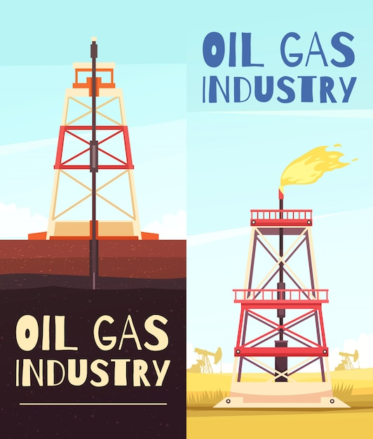 Oil refining venture banners Free Vector