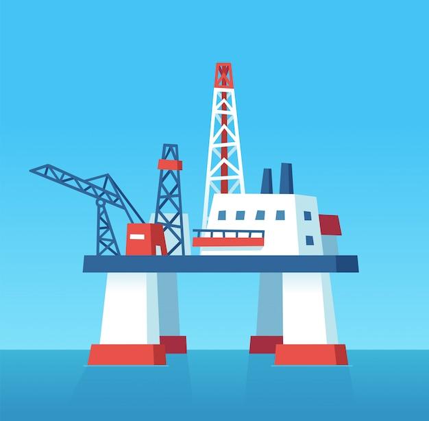 Oil rig cartoon illustration Premium Vector