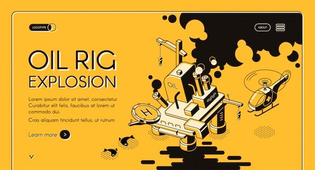 Oil rig explosion isometric web banner. oil spill around burning oil platform line Free Vector