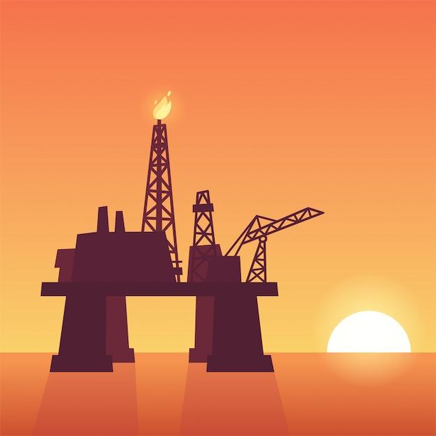 Oil rig on sunset Premium Vector